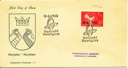 Finland FDC 18-6-1960 Karelen With Cachet Sent To Denmark - Finnland