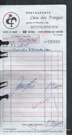 PORTUGAL FACTURE  RESTAURANT CASA DOS FRANGOS  POVA DE VARZIN : - Portugal