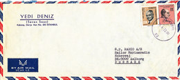 Turkey Air Mail Cover Sent To Denmark Istanbul 14-5-1973 - 1921-... Republic