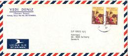 Turkey Air Mail Cover Sent To Denmark 12-1-1976 - 1921-... Republic