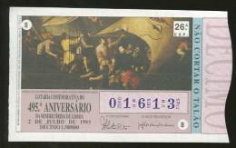 Loterie PORTUGAL 02.07.1993 Peinture Naufrage De Saint Francois Xavier Loteria Lottery Old Painting - Billets De Loterie