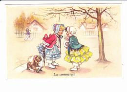 """""""Les Commères"""", Signée G. Bouret, Petites Filles, Belle Epoque, Chien En Laisse, Ed. E. Séphériadès Paris 1950 Environ - Bouret, Germaine"""