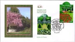 FRANCE Poste 4047 4048 FDC Premier Jour Jardins De France Parc De La Tête D'Or Lyon Magnolia En Fleurs - FDC