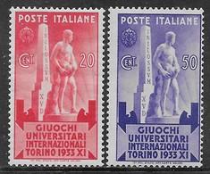 Italia Italy 1933 Regno Giuochi Universitari Internazionali 2val Sa N.342-343 Nuovi MH * - Nuovi
