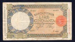 Regno D'Italia - 50 Lire Lupetta (fascio) 28/8/1942 (circolata) - [ 1] …-1946 : Regno