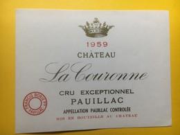 8186 -  Château La Couronne 1959 Pauillac - Bordeaux