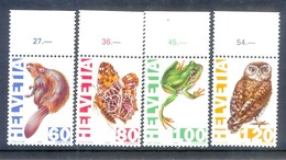 E101- Switzerland 1995. Animals Owl Frog Butterfly. - Insects