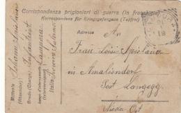 ITALIEN KRIEGSGEFANGENEN PK 1919? - CORRISPONDENZA PRIGIONIERI DI GUERRA - Gel.v. CAMPORA PALERMO > LANGEGG NIEDRÖ .. - 1914-18
