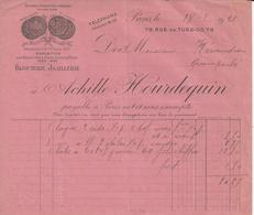 PARIS ACHILLE HOURDEQUIN BIJOUTERIE JOAILLERIE A MR KERANDREN A QUIMPERLE ANNEE 1921 - France