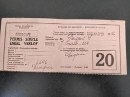 PERMIS DE PÊCHE, Modèle 1900, Année 1946, Délivré à Grivegnee, Impression Recto Verso.Très Belle écriture. - Vieux Papiers