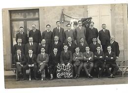 26 CARTE PHOTO SAINT-UZE CLASSE 1926 CONSEIL DE REVISION  CPA 2 SCANS - France