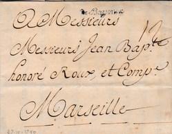 LAC De Bayonne (64) Pour Marseille (13) - 29 Octobre 1740 - Taxe Manuelle 12 + ML De Bayonne - Marcophilie (Lettres)