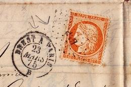 Lettre 1875 Cérès Rennes Ille-et-Vilaine Banques Recouvrements G. Richelot Cachet Brest à Paris - 1849-1876: Période Classique
