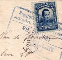 Lettre Medellin 1924 Colombie Colombia Belgique Timbre José María Córdova - Colombia