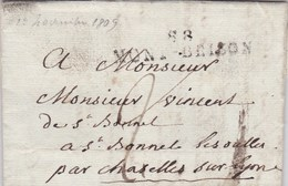 LAC De Saint-Rambert-sur-Loire (42) Pour Saint-Bonnet-les-Oules (42) - 1er Septembre 1809 - TM 2 + ML 88 MONT-BRISON - Marcofilie (Brieven)