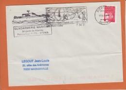 """Lettre De 973 KOUROU Guyane     Le  17  4 2000   """"  PATROUILLEUR P 776 STENIA  """" Gendarmerie Maritime - Postmark Collection (Covers)"""
