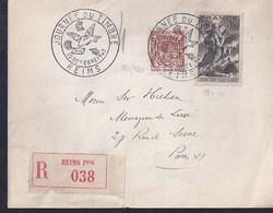 Enveloppe Locale Journée Du Timbre 1943 Paris Sinistrés Blason Armoiries Reims Recommandée - Francia