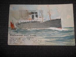 """Bateau  Boot  Red Star Line  Paquebot """" Kroonland """"  Illustrateur H. Cassiers - Paquebots"""