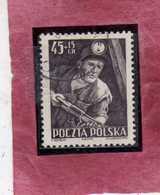 POLONIA POLAND POLSKA 1952 MINER MINATORE 45g + 15g USATO USED OBLITERE' - 1944-.... République