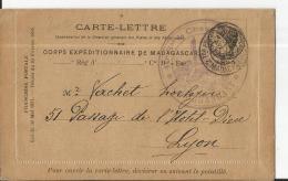 Carte Lettre  Obl Militaire  (frappe Peu Lisible) Pour LYON Arrivée  23 Dec 1895 - Madagascar (1889-1960)