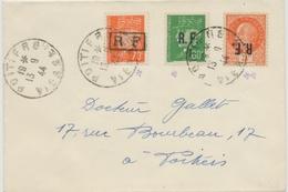 1944 Lettre Libération Poitiers Superbe 3 TP Dont 1 Surcharge Renversée P2834 - Libération