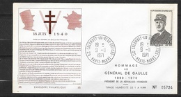 FDC  Lettre Premier Jour Colombey Les Deux Eglises 9/11/1971 N° 1695 Général De Gaulle (1) TB  Soldé à Moins De 20 % ! ! - FDC
