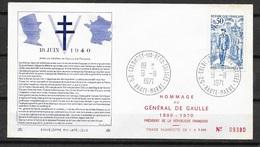 FDC  Lettre Premier Jour Colombey Les Deux Eglises 9/11/1971 N° 1696 Général De Gaulle (1) TB  Soldé à Moins De 20 % ! ! - FDC