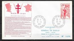 FDC  Lettre Premier Jour Colombey Les Deux Eglises 9/11/1971 N° 1697 Général De Gaulle (1) TB  Soldé à Moins De 20 % ! ! - FDC