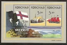 1990 FAROER Faroe Danimarca Denmark BANDIERA - FLAG Foglietto (4) MNH** Souv. Sheet - Bandiere