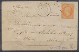 1868 Lettre CHARGE N°23 40c Orange GC2073 LONGEAU HAUTE-MARNE(50) A328 - Storia Postale