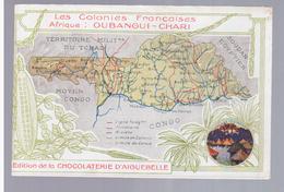 CONGO - OUBANGUI - CHARI - Carte Géographique - Les Colonies Françaises Landkarte MAP Ca 1910, 2 Scans - Congo - Brazzaville