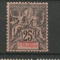 Colonies Françaises ANJOUAN N°8 25c Noir S.rose N* Variété Texte Déplacé N2836 - Anjouan (1892-1912)