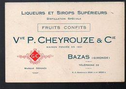 Bazas (33 Gironde) Carte Commerciale CHEYROUZE (liqueurs Sirops, Fruits Confits) (PPP12048) - Publicités