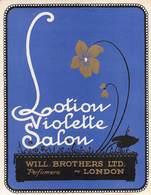"""07697 """"LOTION VIOLETTE SALON - PERFUMERS -WILL BROTHER LTD - LONDON""""  ETICHETTA  ORIGINALE. ORIGINAL LABEL - Etichette"""