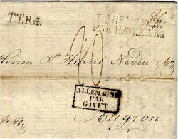 1820- Letter From Copenhagen To Mugron ( Near To Bordeaux ) T.T.R.4 + DANEMARK / PAR HAMBOURG-entrée Givet - Danimarca
