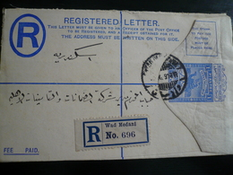 Old Sudan 1913 Wad Medani Reg.letter To Alexandria  Transit Cancels Back - Sudan (...-1951)
