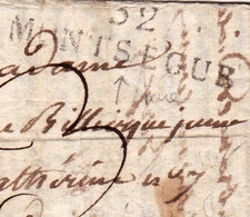 Lettre Avec Correspondance 1825 Marque Linéaire Monségur Gironde - Marcophilie (Lettres)