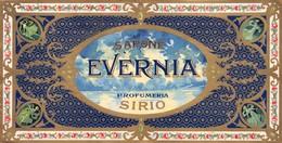 """07700 """"PROFUMERIA SIRIO - MILANO - SAPONE EVERNIA""""  INIZIO '900. ETICHETTA  ORIGINALE. ORIGINAL LABEL - Etichette"""