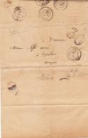 Lettre Avec Correspondance 1866 Villandraut Gironde Duprat Huissier Espalion Aveyron - 1849-1876: Klassieke Periode