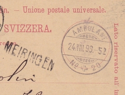 Carte Postale Meiringen Ambulant Entier Postal Suisse 1898 Grivegnée Belgique - Postwaardestukken