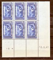 Andorre  87 Chapelle De Meritxell Bloc De 6 Coin Daté 13 8 41 Neuf ** MNH Sin Charmela - Andorre Français