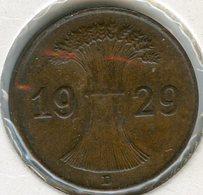 Allemagne Germany 1 Reichspfennig 1929 D J 313 KM 37 - [ 3] 1918-1933 : Weimar Republic