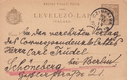 Entier Postal 1914 Cinfalva Siegendorf Hongrie Magyarország Österreich Autriche Empire Austro Hongrois - Postwaardestukken