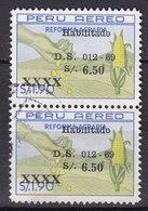 Peru 1969 Mi. 713    6.50 S Auf 1.90 S Reforma Agraria Aufcruck Overprint HABILITADO / D.S. / 012-69 Pair Paar Paare - Peru