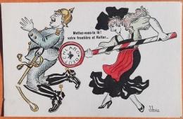 """CPA Guerre 1914 Editeur GIRON Grenoble. Illus. Signé  J.JANIN """"Mettez-vous-la Là! Votre Frontière Et Kultur... - Oorlog 1914-18"""