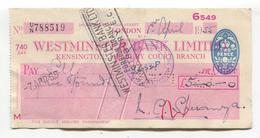 Westminster Bank Cheque, London - Kensington Branch - Used 1955 In Malta - Self-government Revenue Stamp On Reverse - Cheques & Traveler's Cheques
