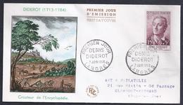 Enveloppe Premier Jour Denis Diderot Langres 1958 - 1950-1959