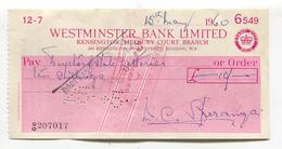 Westminster Bank Cheque, London - Kensington Branch - Used 1960 In Malta - Revenue Stamp On Reverse - Cheques & Traveler's Cheques