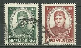 POLAND Oblitéré 645-646 Maria Konopnicka Poète écrivain Littérature - 1944-.... Republiek