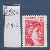 Sabine De Gandon Neuf N°1972a Sans Phosphore 1f00 Rouge Signé Calves - 1977-81 Sabine Of Gandon